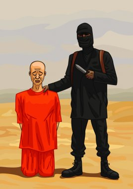 Terrorist executioner and his victim.