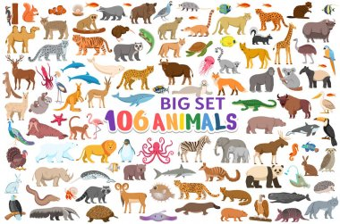 Big set 106 animals, fish and birds for children. Symbols pack for kids  book, education poster. Vector cartoon characters isolated on white background. icon