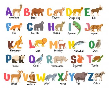 Alphabet with animals.Isolated capital letters with related animals, birds.  Symbols pack for kids ABC book, education poster. icon