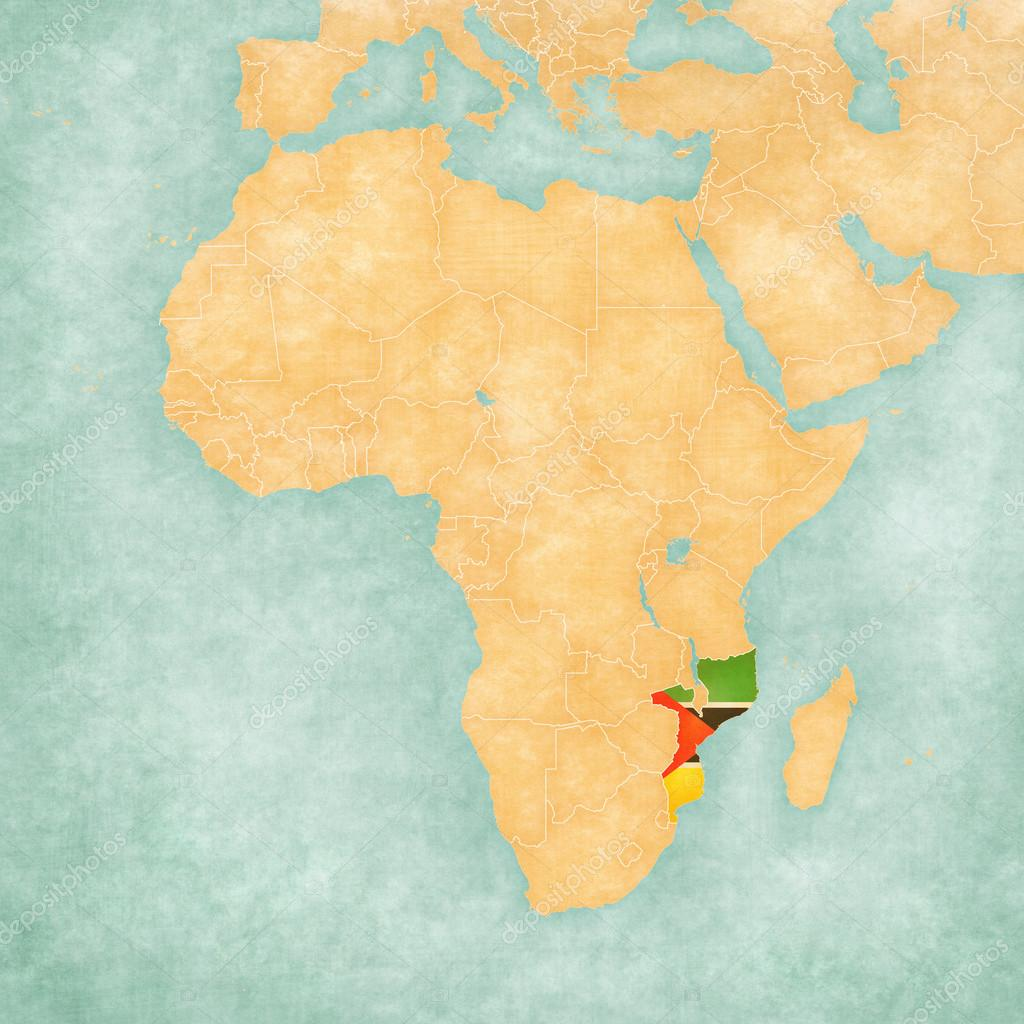 Map of africa mozambique stock photo tindo 123903404 mozambique mozambican flag on the map of africa the map is in soft grunge and vintage style like watercolor painting on old paper photo by tindo sciox Choice Image