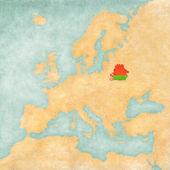 Mapa Evropy - Bělorusko (Vintage Series)
