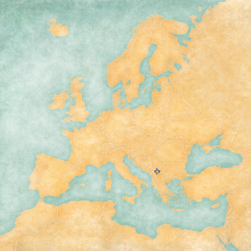 Kosovo Karte Europa.Karte Von Europa Kosovo Jahrgang Serie Stockfoto