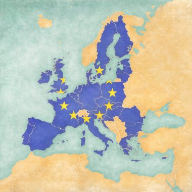 Map of Europe - EU (Vintage Series)