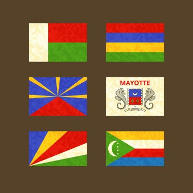 Flags of Madagascar, Reunion, Seychelles, Mauritius, Mayotte and Comoros
