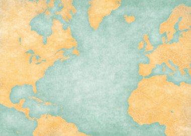 Map of North Atlantic - Blank map (Vintage Series)