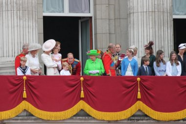 QUEEN ELIZABETH & ROYAL FAMILY, London June 2016- Trooping the Colour ceremony, Princess Charlottes first appearance on Balcony for Queen Elizabeth's 90th Birthday with Royal family, June 11, 2016 in London, England, UK