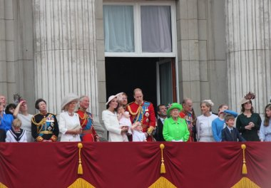 Royal Family, Buckingham Palace, London June 2016- Trooping the Colour ceremony, Princess Charlottes first appearance on Balcony for Queen Elizabeth's 90th Birthday, June 11, 2016 in London, England, UK