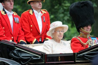 Queen Elizabeth and Prince Philip, Royal carriage Trooping of the colour, London, 2015