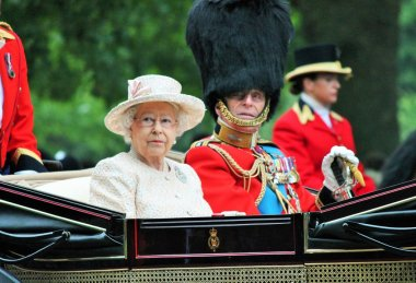 Queen Elizabeth and Prince Philip Royal carriage Trooping of the color 2015 stock, photo, photograph, image, picture, press,