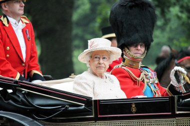 Queen Elizabeth and Prince Philip, Royal carriage Trooping of the colour 2015 stock, photo, photograph, image, picture, press,