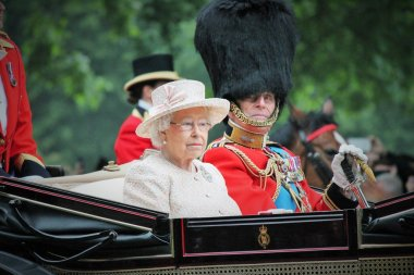 QUEEN ELIZABETH & PRINCE PHILIP, LONDON, UK - JUNE 13: The Queen Elizabeth and Prince Phillip appear during Trooping the Colour ceremony, on June 13, 2015 in London, England, UK