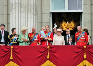 QUEEN ELIZABETH & ROYAL FAMILY, BUCKINGHAM PALACE, LONDON, UK - JUNE 13: The Royal Family appears on Buckingham Palace balcony during Trooping the Colour ceremony, also Prince Georges first appearance on balcony, on June 13, 2015 in London