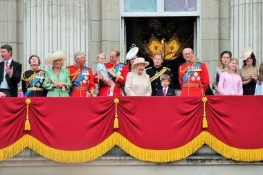 Queen Elizabeth PRINCE PHILIP and Royal Family at Trooping of the colour Buckingham Palace Balcony 2015 stock, photo, photograph, image, picture, press,