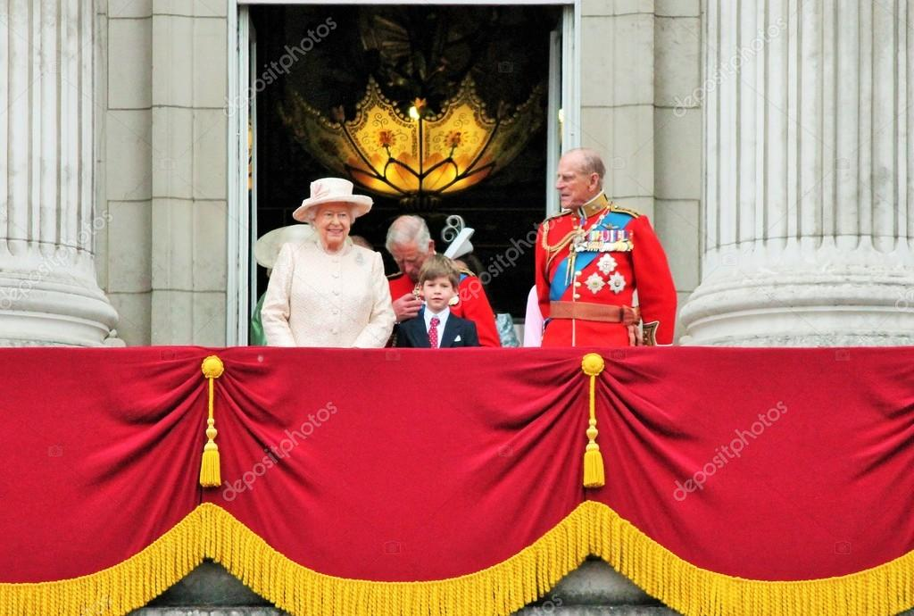 Royal Balcony Trooping of the color 2015- Queen Elizabeth, Prince Phillip and PrinceCharles