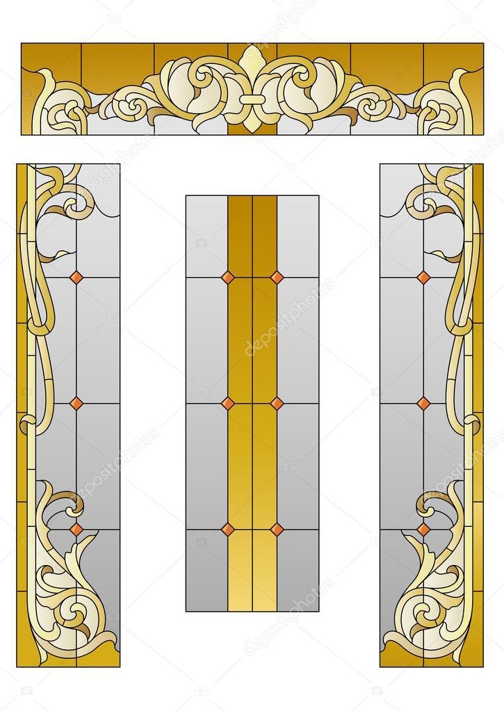 Porte d 39 entr e avec un vitrail image vectorielle gamiag 108784318 - Porte d entree avec vitrail ...