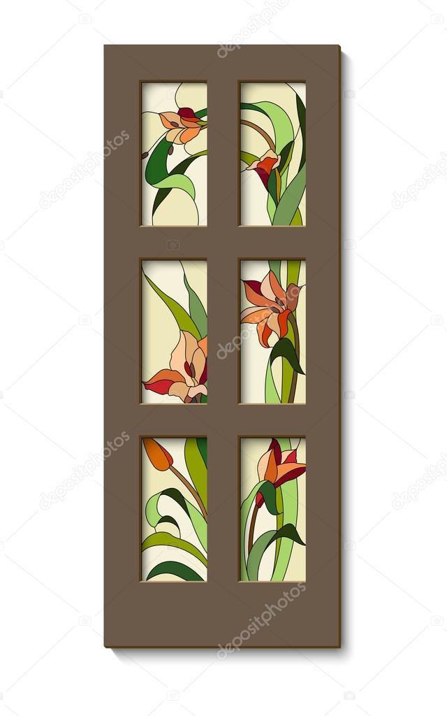 porta con vetro colorato — Vettoriali Stock © gamiag #109670314