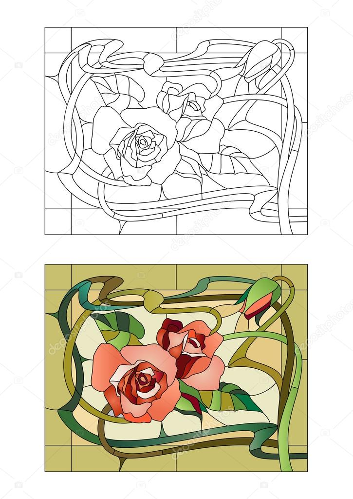 floral stained glass pattern
