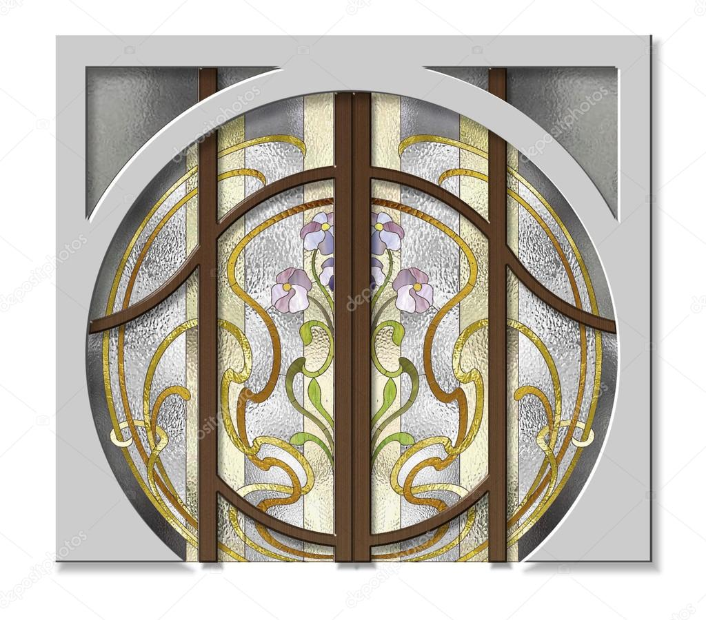 La porte d 39 entr e pour le vitrail photographie gamiag 91665196 - Porte d entree avec vitrail ...