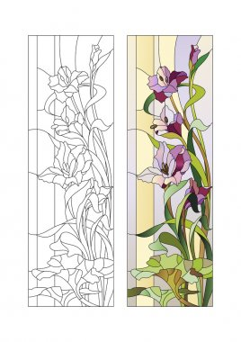 Stained glass pattern with gladioli