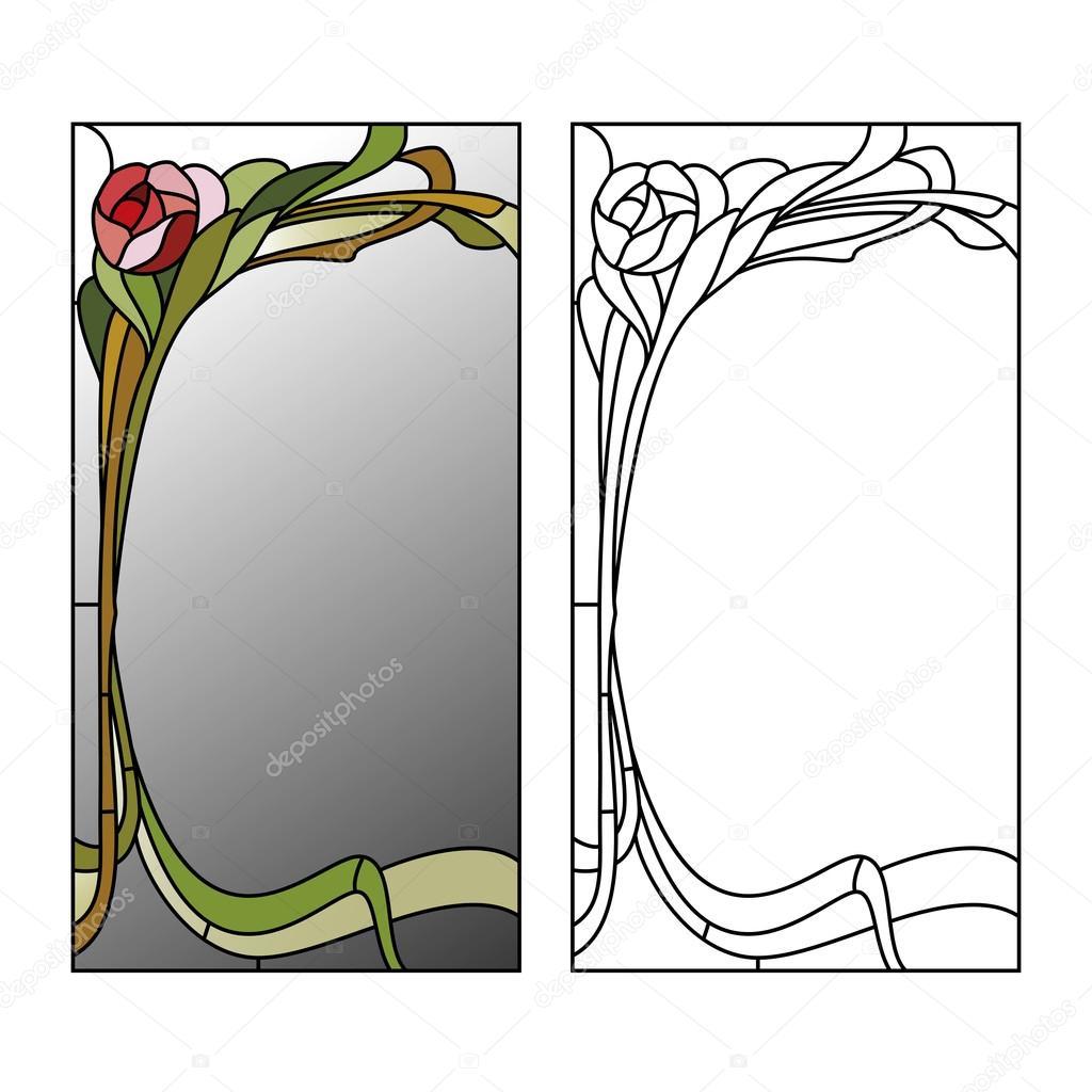 Vitrail Miroir Modele patron vitrail — image vectorielle gamiag © #91726174