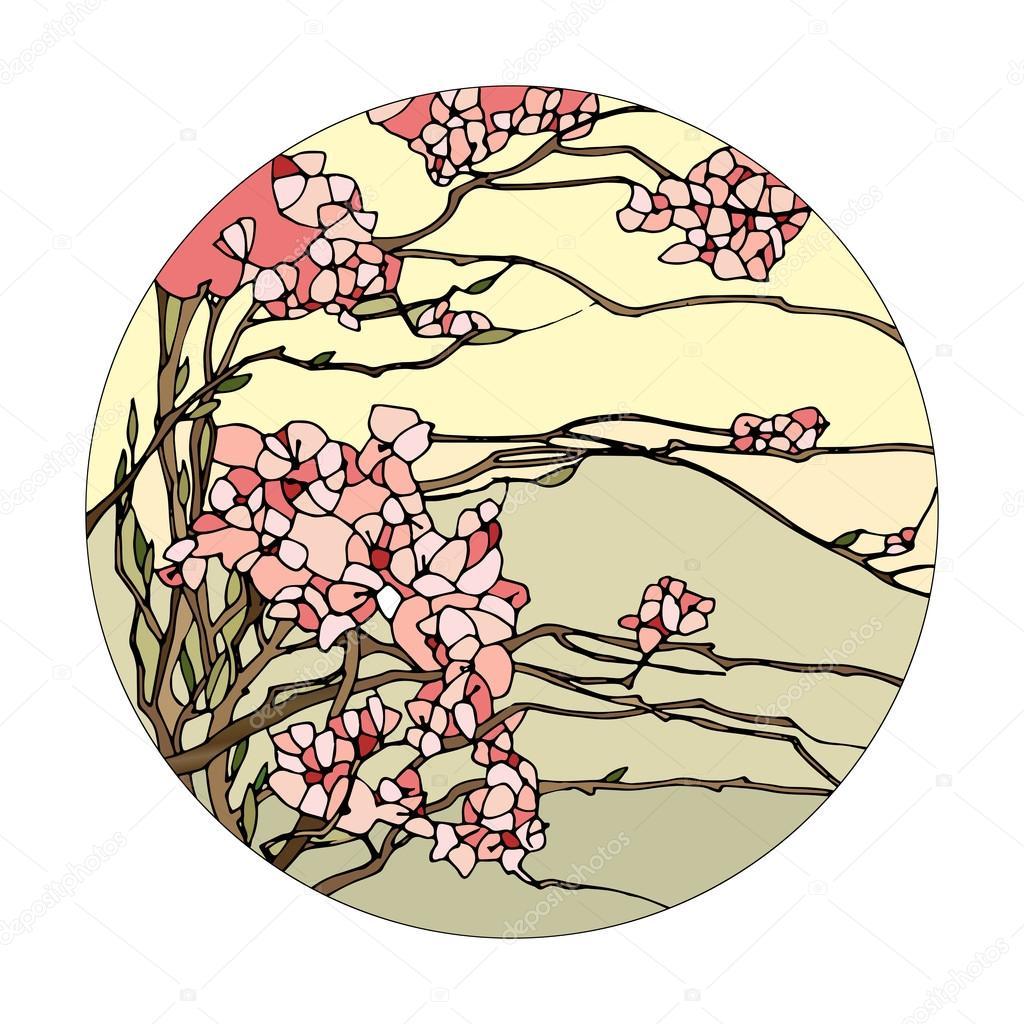Kirchenfenster mit sakura — Stockvektor © gamiag #95747690