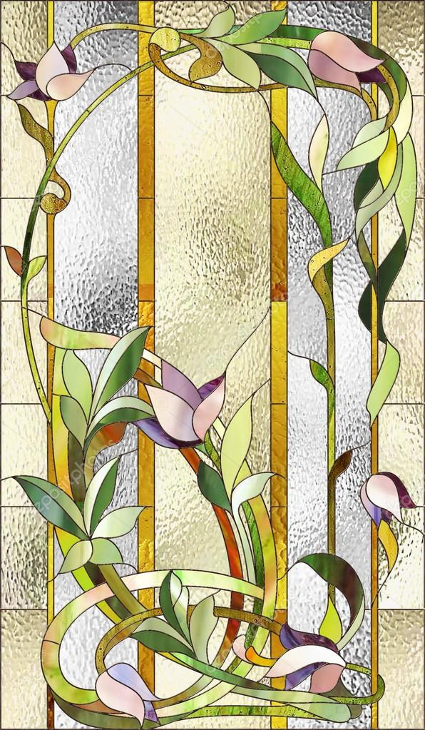 Stained Glass Window With Purple Floral Pattern Photo By Gamiag