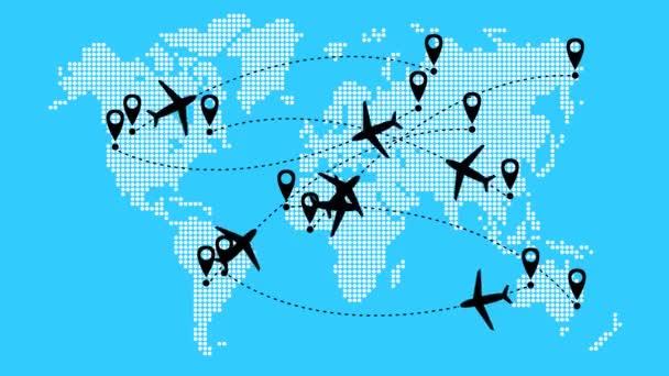 Animovaná letadla letí po trajektorii. Cestování letadlem. Letadlo letí z jednoho místa na druhé. Mapa světa od bodu vzor na modrém pozadí.