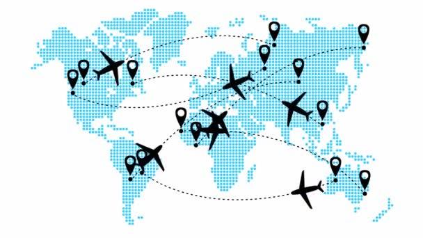Animovaná letadla letí po trajektorii. Cestování letadlem. Letadlo letí z jednoho místa na druhé. Mapa světa od bodu vzor na bílém pozadí.