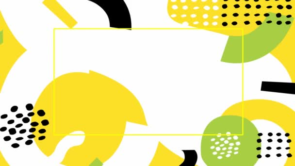 Animated abstract modern colorful background with yellow frame and copy space. Different shapes on a white background. Looped video. Bright flat vector illustration.