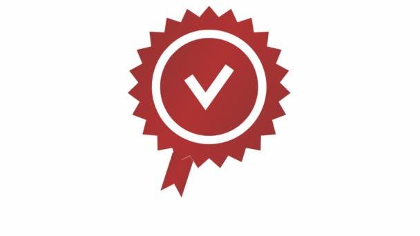 Animovaná červená značka kvality. Schválená nebo certifikovaná ikona v plochém provedení. Vektorové ilustrace izolované na bílém pozadí.