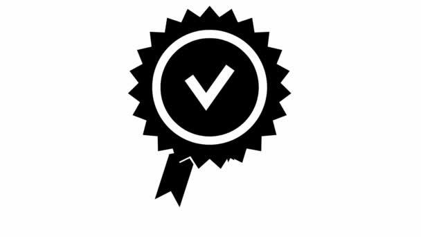 Animovaná značka kvality. Schválená nebo certifikovaná ikona v plochém provedení. Vektorové ilustrace izolované na bílém pozadí.