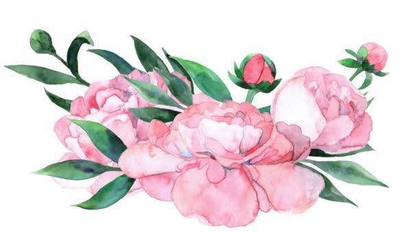 Animált akvarell rózsaszín bazsarózsa. Virágos csokor és levelek jelennek meg a középső képernyőn. Vektor illusztráció elszigetelt fehér háttér.
