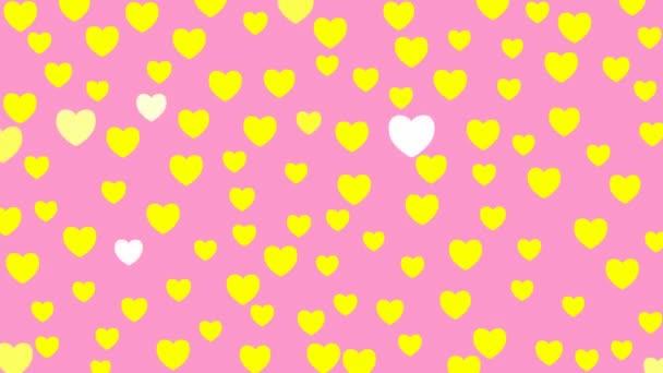 Élénk sárga szív ragyog. Vektor illusztráció a rózsaszín háttér Valentin nap.