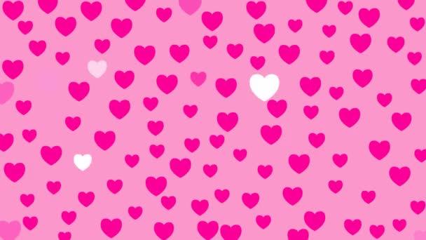 Animiertes rosafarbenes Herz leuchtet. Vektor-Illustration auf rosa Hintergrund zum Valentinstag.