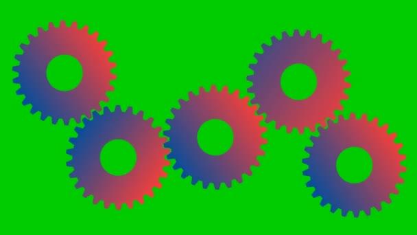 Az animált fogaskerekek forognak. Vektor illusztráció elszigetelt zöld háttér.