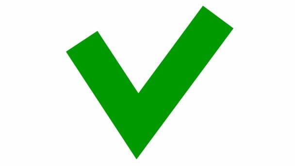 Zobrazí se zelený kontrolní znak. Ploché vektorové ilustrace izolované na bílém pozadí.