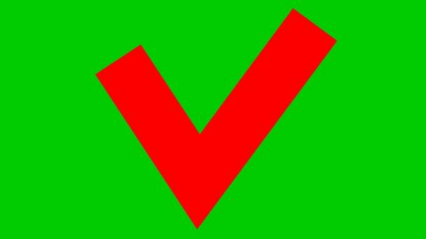 Animiertes rotes Häkchen erscheint. Flache Vektordarstellung isoliert auf grünem Hintergrund.
