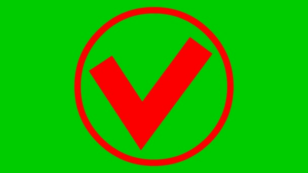 Animated red check mark in circle appears. Flat vector illustration isolated on green background.