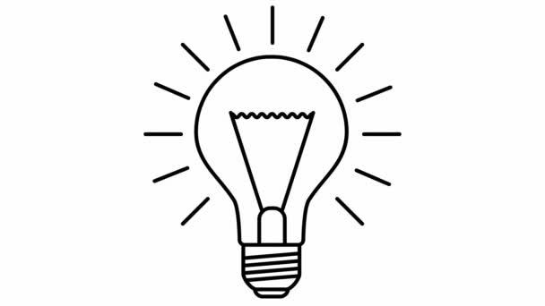 Animovaný symbol žárovky. Myšlenka a kreativita. Line vektorové ilustrace izolované na bílém pozadí.