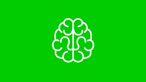 Animated white symbol of brain. Concept of idea and creative. Line vector illustration isolated on green background.