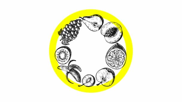 Animated circle frame from hand drawn fresh fruits with copy space. Organic food set from banana, apple, pear, plum, lemon, kiwi, peach. Vector illustration on the white background.