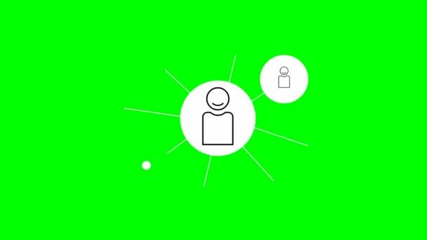 Animierte Symbole von Menschen verbinden sich untereinander. Konzept für Management, Verbindung, Kommunikation, soziales Netzwerk. Vektor-Illustration isoliert auf grünem Hintergrund.