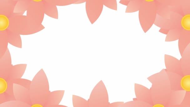 Belebte rosa Blumen blühen. Floraler Rahmen mit Kopierraum. Video in Schleife. Vektor-Illustration isoliert auf weißem Hintergrund.