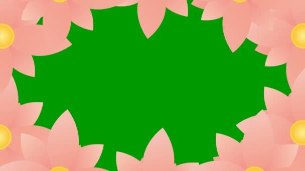 Belebte rosa Blumen blühen. Floraler Rahmen mit Kopierraum. Video in Schleife. Vektor-Illustration isoliert auf grünem Hintergrund.