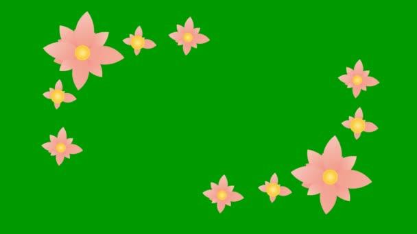 Belebte rosa Blumen blühen. Floraler Rahmen mit weißem Kopierraum. Video in Schleife. Vektor-Illustration isoliert auf grünem Hintergrund.