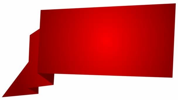 Animovaný červený symbol stuhy. Smyčkové video nápisu s kopírovacím prostorem. Vektorové ilustrace izolované na bílém pozadí.