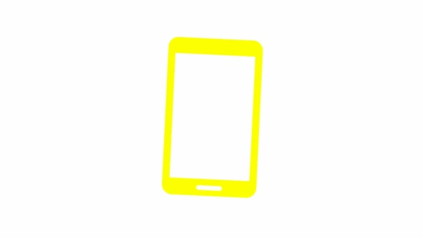 Animovaná žlutá ikona mobilu. Symbol smartphonu. Koncept komunikace. Smyčkové video. Vektorová ilustrace izolovaná na bílém pozadí.