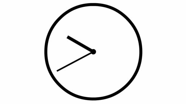 Animated clock. Black watch. Concept of time, deadline. Vector illustration isolated on white background.