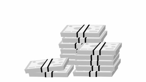 Oživil jsem balík peněz. Peněžní bankovky letí odshora dolů. Pojem ekonomie, hotovost, měna. Smyčkové video. Vektorová ilustrace izolovaná na bílém pozadí.