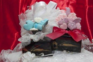 weddings fawors whit soap flower